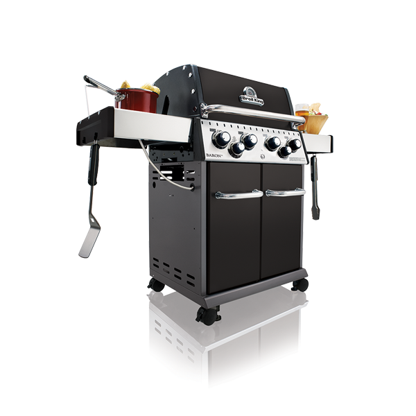 Broil King Baron 490 - Gas BBQ - The Baron™ series from Broil King® offers both power and performance in a variety of sizes to suit the avid griller. The Barons include standard premium stainless steel features like a double lid, drop down side shelves, control panel, handles and cabinet doors. Always present is Broil King's legendary cooking system containing heavy-duty cast iron cooking grids, stainless steel Flav-R-Wave™, patented Dual-Tube™ burners and Linear-Flow™ valves for precise cooking control.