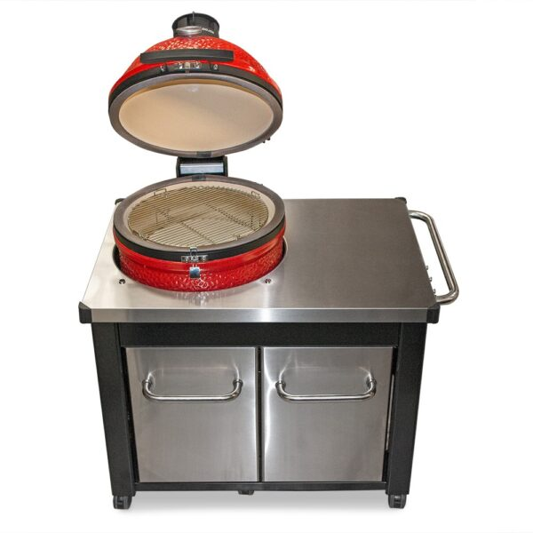 Kamado Joe - Classic 3 Standalone Stainless Steel Table Bundle - The Kamado Joe – Classic 3 Standalone includes the newest innovation, the revolutionary SloRoller Hyperbolic Smoke Chamber insert. Harnessing the power of cyclonic airflow technology to control heat and smoke, the SloRoller insert is designed to perfect the taste and texture of food on low-and-slow cooks up to 500°F, and is easily swapped out for heat deflector plates when searing or grilling at higher temperatures. As with its predecessor, the Classic 2, it also features a thick-walled, heat-resistant shell that locks in smoke and moisture at any temperature. <strong>Scroll down to see what's included in this bundle.</strong>